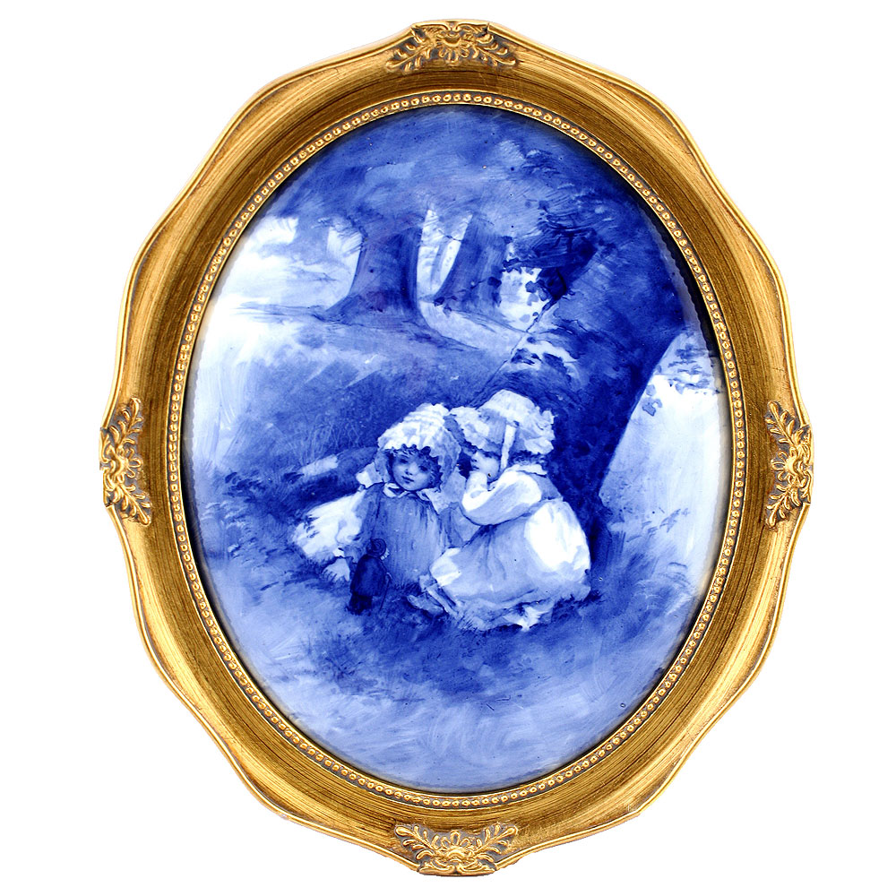 Blue Children Oval Plaque, Girls Whispering - Royal Doulton Seriesware