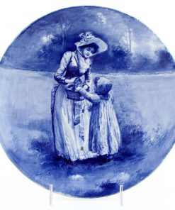 Blue Children Plate, Girl with Hand in Basket, 8.75'' Dia - Royal Doulton Seriesware