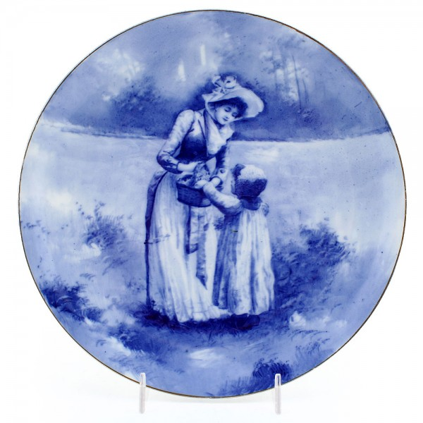 Blue Children Plate, Girl with Hand in Basket, 9'' Dia - Royal Doulton Seriesware