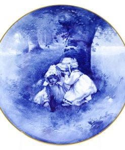 Blue Children Plate, Girls Whispering - Royal Doulton Seriesware