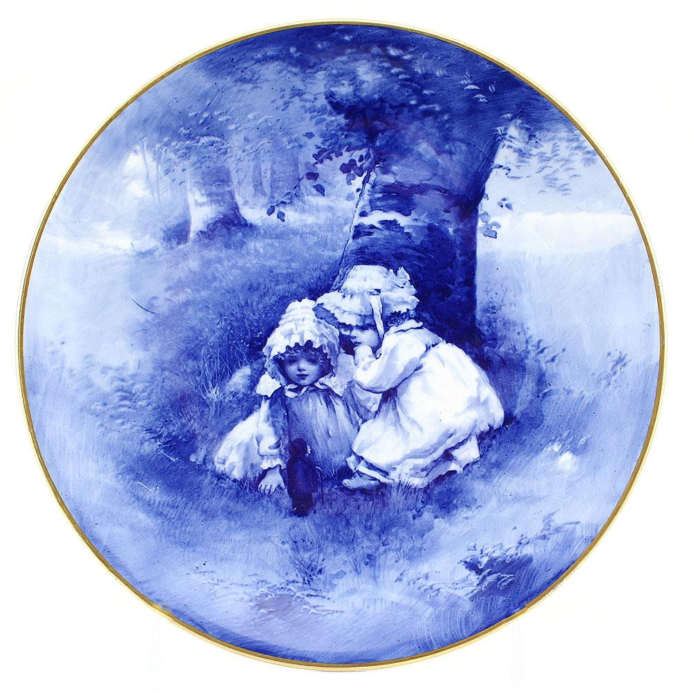 Blue Children Plate, Girls Whispering - Royal Doulton Seriesware