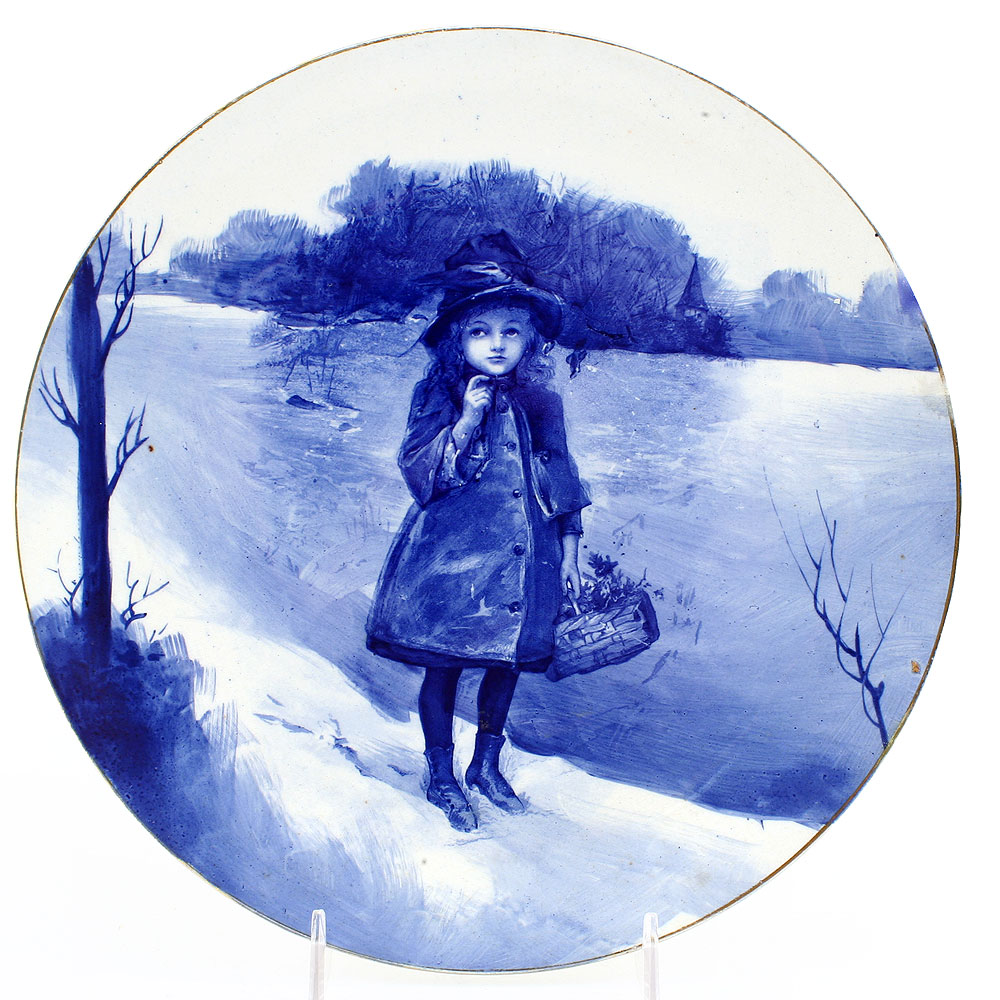 Blue Children Plate, Girl with Basket - Royal Doulton Seriesware
