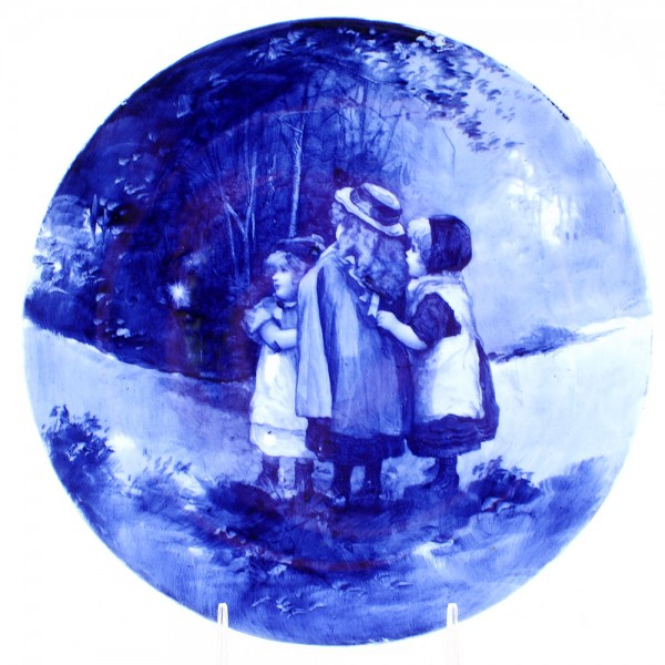 Blue Children Plate - Scene of Girls Watching Tinker Bell - Royal Doulton Seriesware