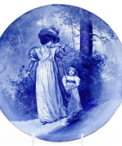 Blue Children Plate, Woman with Child Trailing - Royal Doulton Seriesware