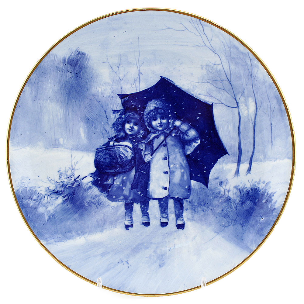 Blue Children Plate, Girls Under Umbrella - Royal Doulton Seriesware