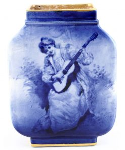 Blue Children Square Vase, Woman with Guitar - Royal Doulton Seriesware