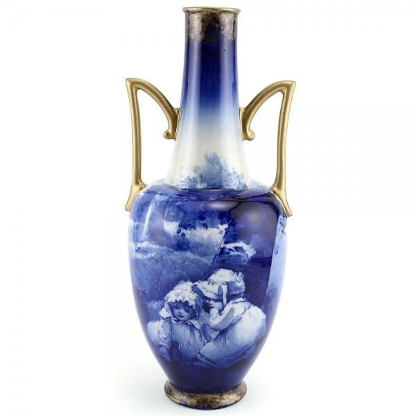 Blue Children Vase, Girls Whispering, 11.5''H - Royal Doulton Seriesware