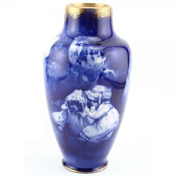 Blue Children Vase, Girls Whispering, 8.5''H - Royal Doulton Seriesware