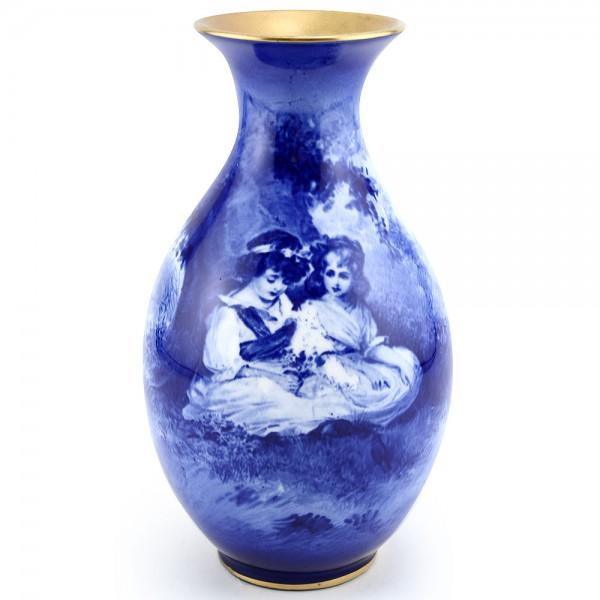 Blue Children Vase, Girls Under Tree - Royal Doulton Seriesware