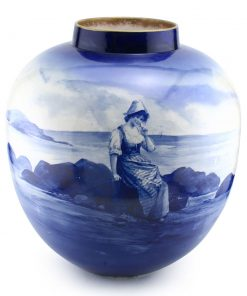 Blue Children Vase (Girl sitting on rocks) - Royal Doulton Seriesware
