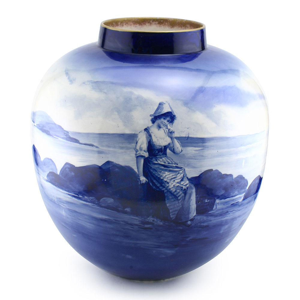 Blue Children Vase (Girl sitting on rocks) - Royal Doulton ...