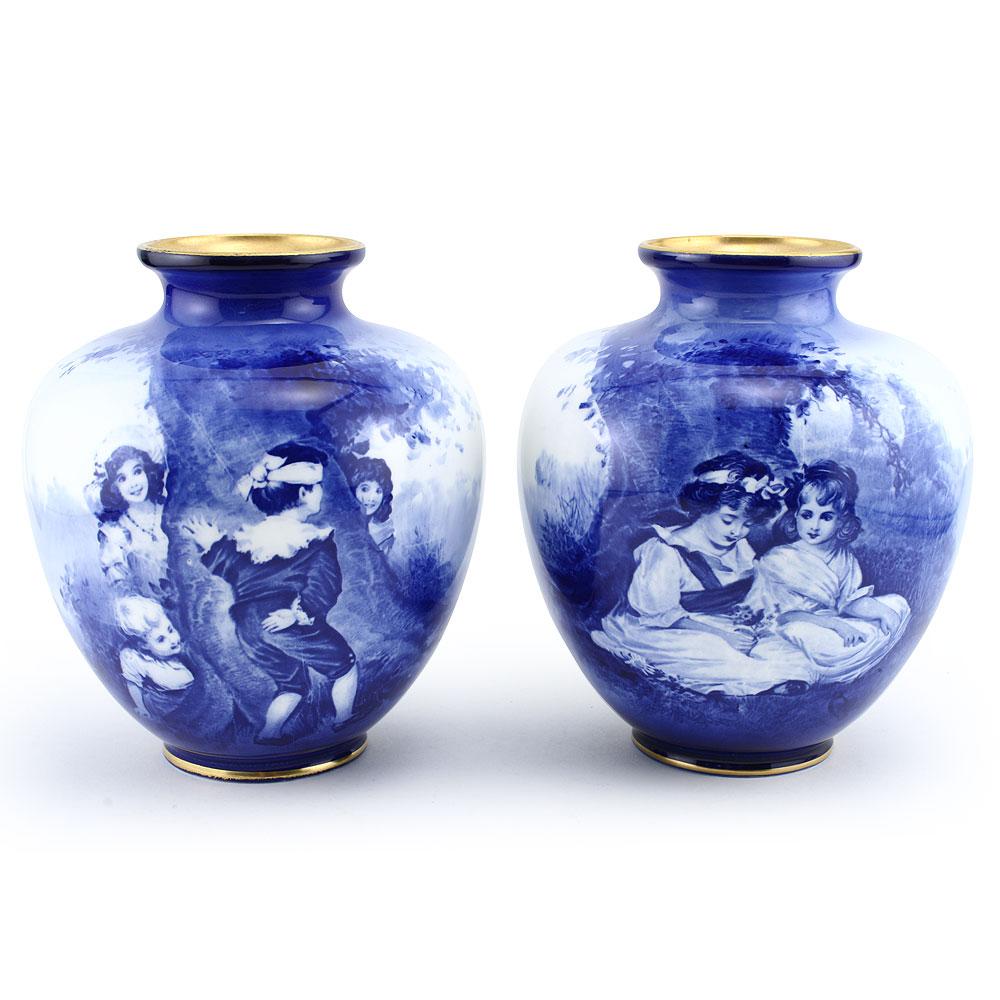 Blue Children Vase Pair, Children Under Tree - Royal Doulton Seriesware