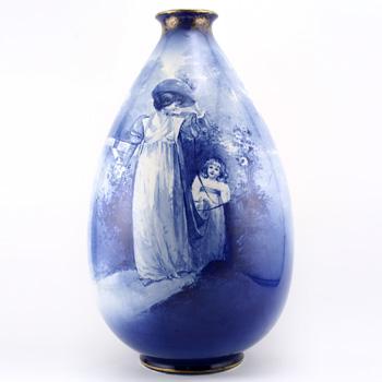 Blue Children Vase Child Trailing - Royal Doulton Seriesware