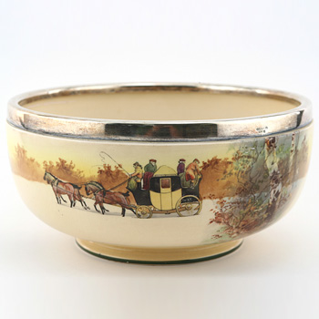 Coaching Bowl with Silver Rim - Royal Doulton Seriesware