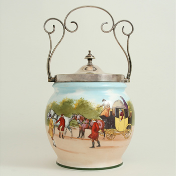 Coaching Days Biscuit Barrell, Silver Lid And Handle - Royal Doulton Seriesware