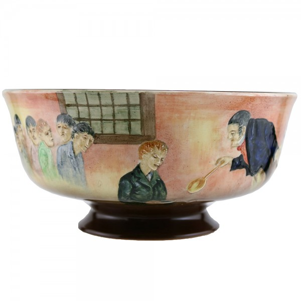 Dickens Oliver Relief Pedestal Bowl - Royal Doulton Seriesware
