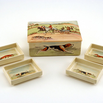 Fox Hunt Box Lidded Trays Cart - Royal Doulton Seriesware