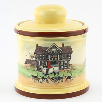 Hunting Tobacco Jar, Yellow - Royal Doulton Seriesware