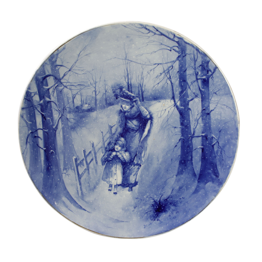 Blue Children Large Plaque - Woman and Child in Snow - Royal Doulton Seriesware