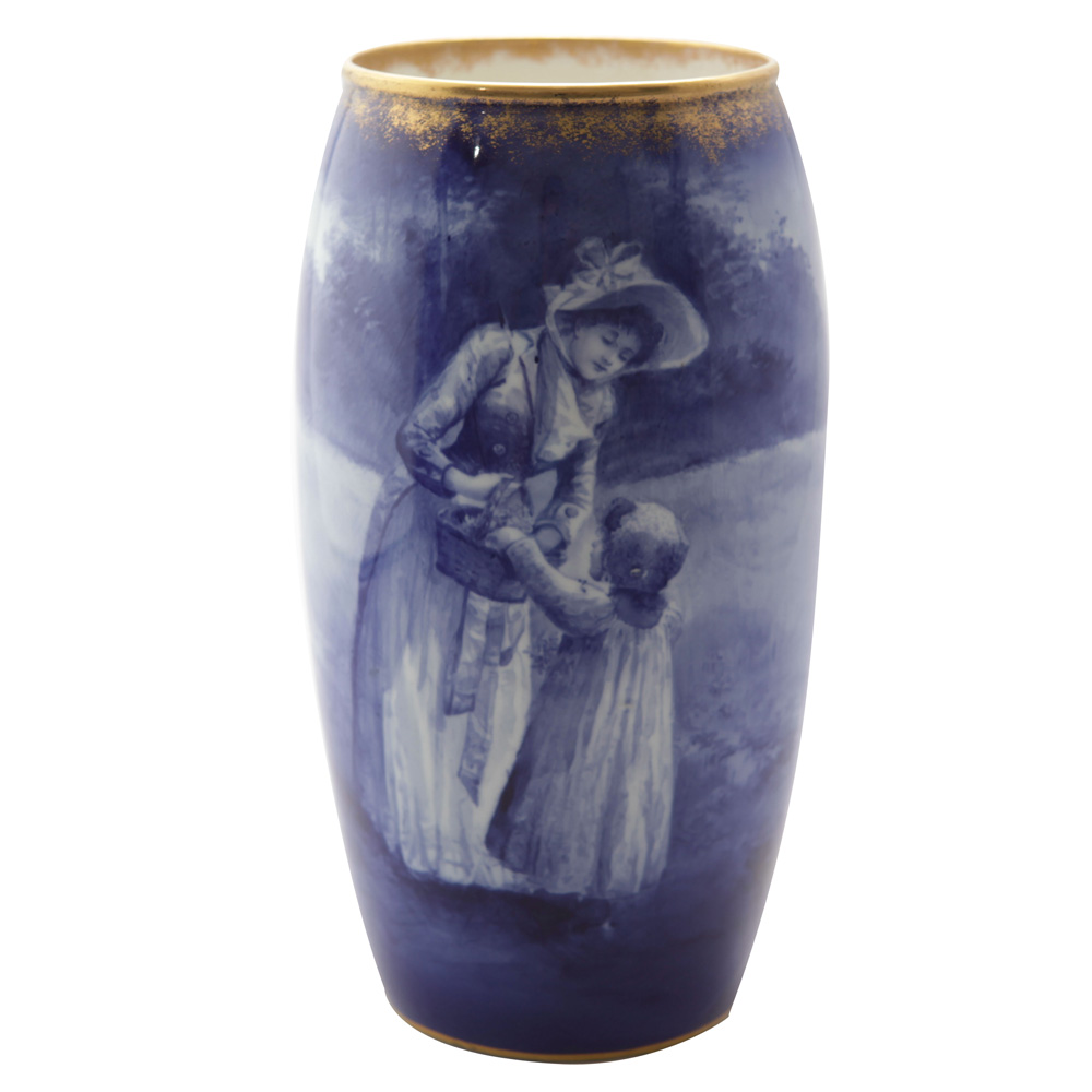 Blue Children Vase - Girl with Hand in Basket - Royal Doulton Seriesware