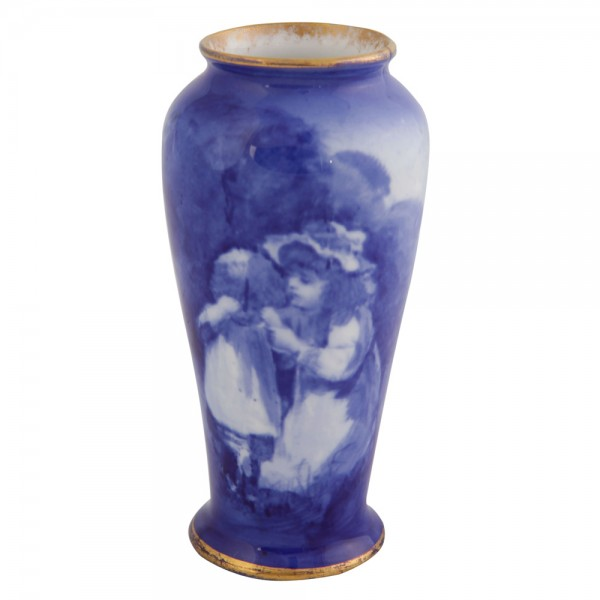 Blue Children Small Vase - Girl Comforting Crying Child - Royal Doulton Seriesware