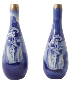 Blue Children Large Vase Pair - Girl with Hand in Basket - Royal Doulton Seriesware