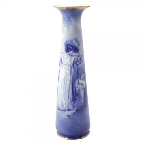 Blue Children Large Vase - Woman with Child Trailing Behind - Royal Doulton Seriesware