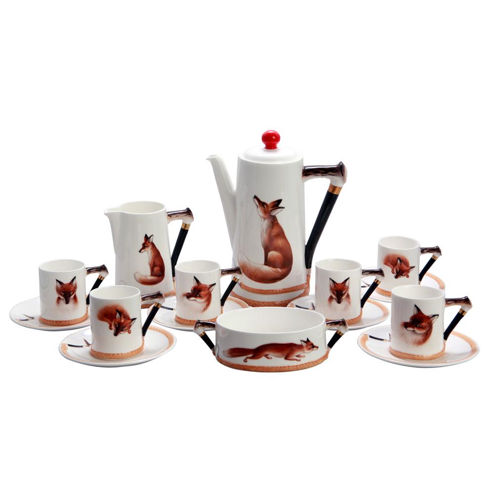 Reynard the Fox set - Coffee, Creamer, Sugar with 6 cups and saucers - Royal Doulton Seriesware
