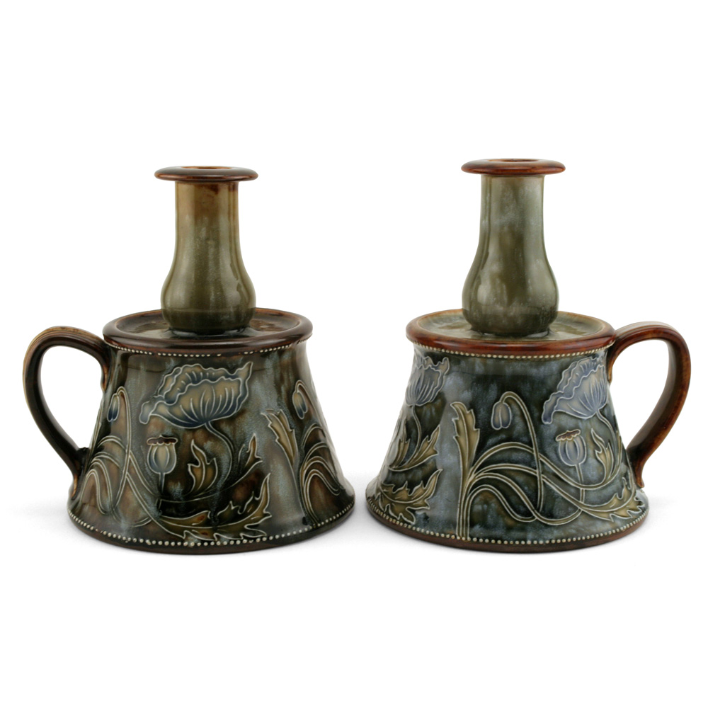 Pair Of Candlesticks - Royal Doulton Stoneware