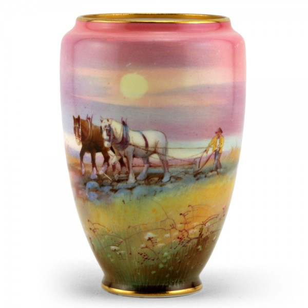 Vase, Two Horses Plowing Field - Royal Doulton