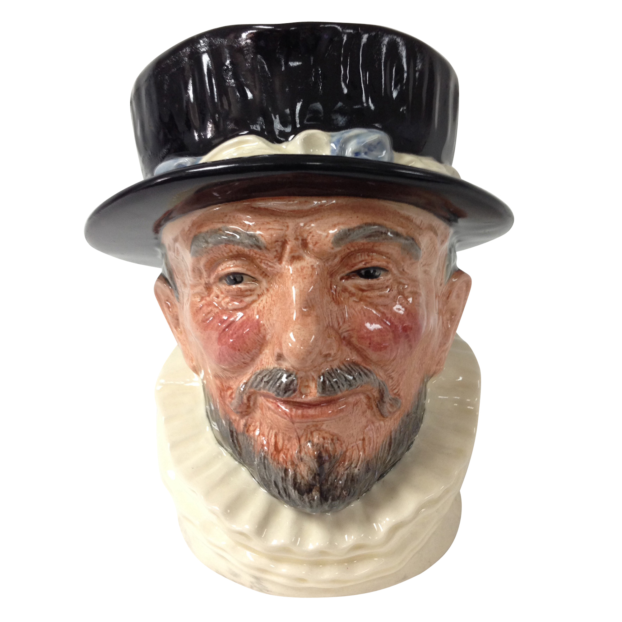 Beefeater 'ER' White collar with black hat D6206 - Large - Royal Doulton Character Jug