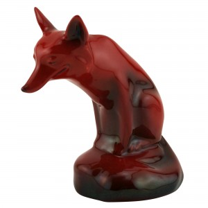 Flambé Fox Seated Medium Style 1 - Royal Doulton Flambe