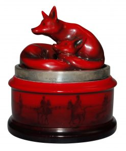 Flambé Fox Tobacco Jar with Silver Rim - Royal Doulton Flambe