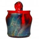 Sung Flambé Tobacco Jar with Elephant Finial - Royal Doulton Flambe