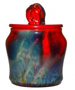Sung Flambé Tobacco Jar with Elephant Finial - Royal Doulton Flambe