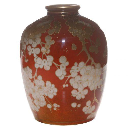 Flambé Vase with Dogwood Flowers - Royal Doulton Flambe