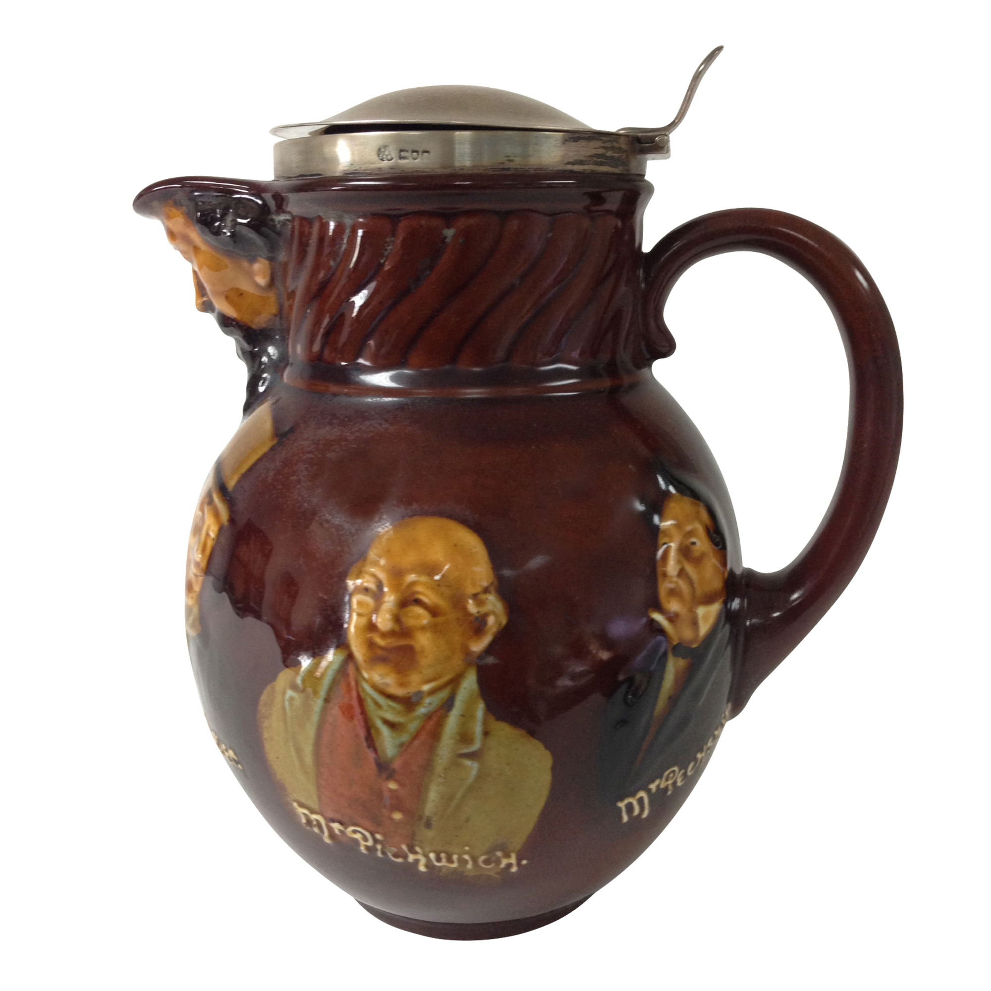 Kingsware Dickens Pitcher with Silver Hinged Lid - Royal Doulton Kingsware