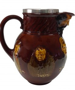 Kingsware Dickens Pitcher with Silver Rim - Royal Doulton Kingsware