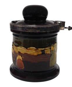 Kingsware Dutch Children Tobacco Jar with Silver Locking Lid - Royal Doulton Kingsware