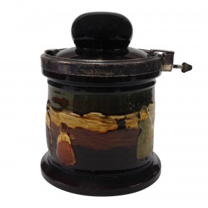 Kingsware Dutch Children Tobacco Jar with Silver Locking Lid - Royal Doulton Kingsware