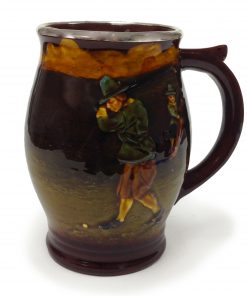 Kingsware Golfing Tankard with Silver Rim - Royal Doulton Kingsware
