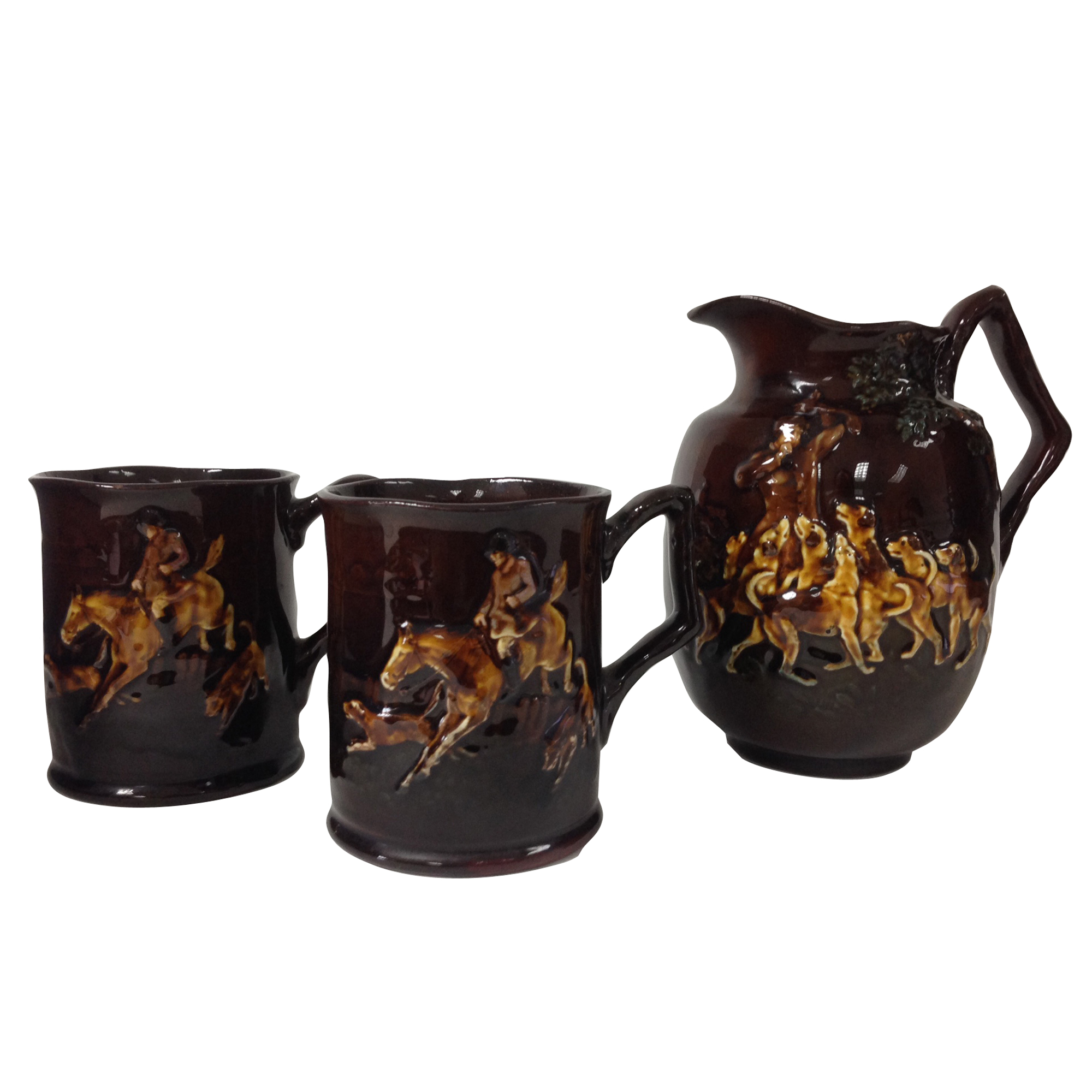 Kingsware Hunting 3 pc. Set Pitcher with tankards - Royal Doulton Kingsware