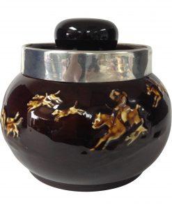 Kingsware Hunting Tobacco Jar with Silver Rim - Royal Doulton Kingsware