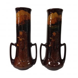 Kingsware Monk Vase Pair with Double Handles - Royal Doulton Kingsware