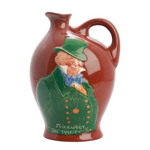 Kingsware Micawber the Ever Expectant Flask Unrecorded Color Variation - Royal Doulton Kingsware