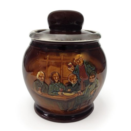 Kingsware Mr. Pickwick Proposes a Toast Tobacco Jar with Silver Rim - Royal Doulton Kingsware