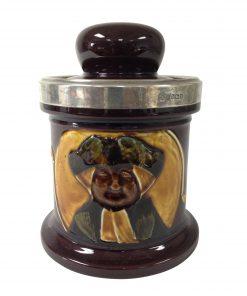 Kingsware Parson Brown Tobacco Jar with Silver Rim - Royal Doulton Kingsware