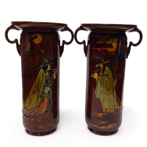 Kingsware Pied Piper Double Handle Vase Pair - Royal Doulton Kingsware
