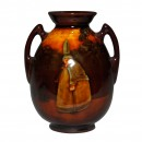 Kingsware Witch Vase Double Handle - Royal Doulton Kingsware