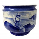 Large Blue Children Jardinière Scene of Dutch girl sitting on rocks by the sea - Royal Doulton Seriesware